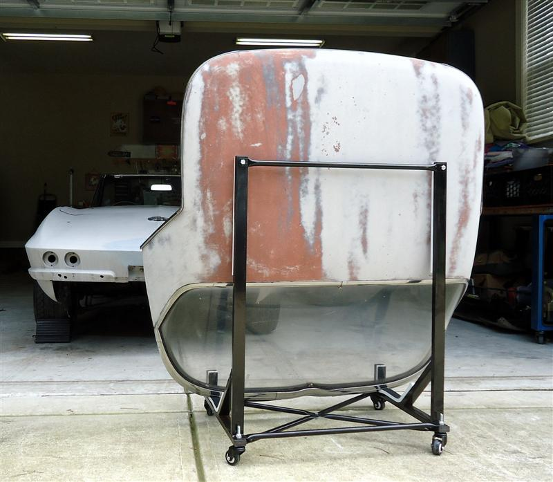 1966 Corvette hardtop on rolling stand