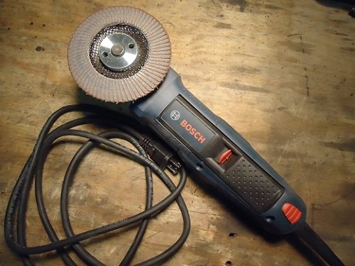 Bosch angle grinder with flap disc