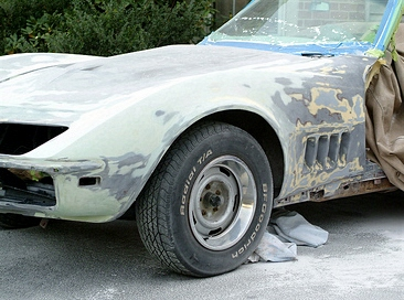 stripping paint off a C3 Corvette
